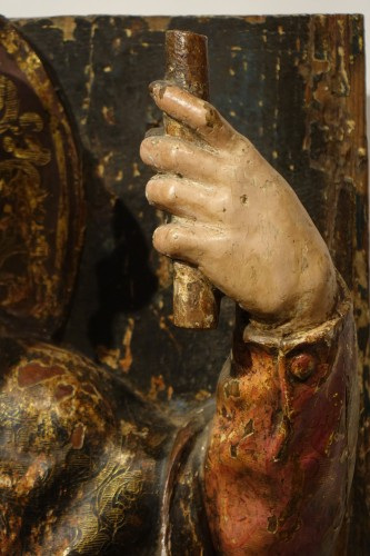 Religious Antiques  - Saint Roch, painted wood high relief sculpture, Spain late 16th - early 17th century