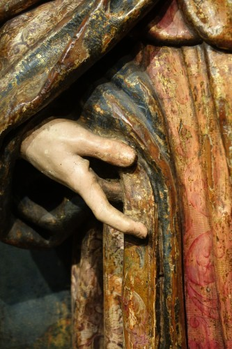 Saint Roch, painted wood high relief sculpture, Spain late 16th - early 17th century -