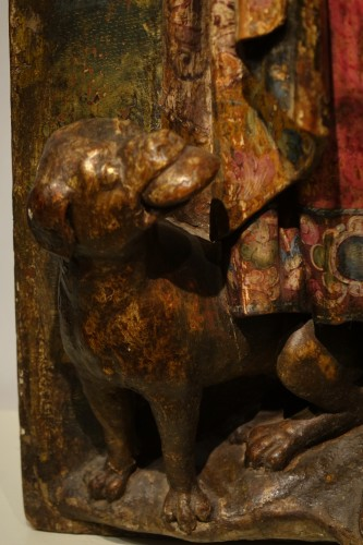 17th century - Saint Roch, painted wood high relief sculpture, Spain late 16th - early 17th century