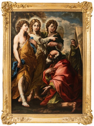 """""""The visit of the three Angels to Abraham"""",attributed to Giacinto BRANDI  - Paintings & Drawings Style Louis XIII"""