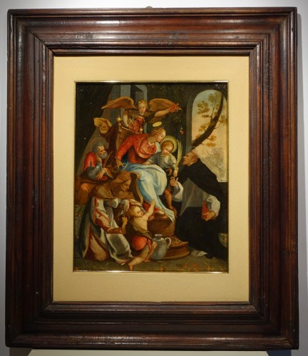 Adoration of a Holy Martyr to the Virgin and the Child - Italian School cir - Paintings & Drawings Style Renaissance