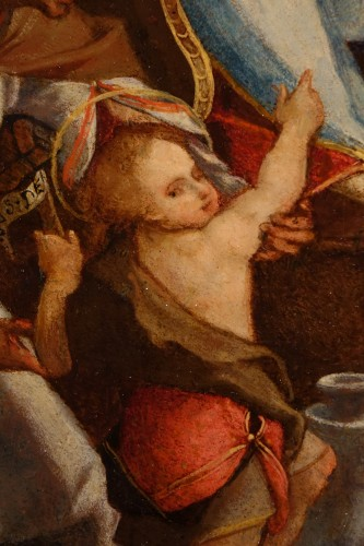 Adoration of a Holy Martyr to the Virgin and the Child - Italian School cir -