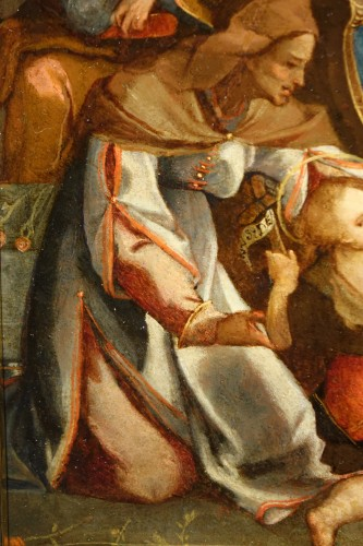 <= 16th century - Adoration of a Holy Martyr to the Virgin and the Child - Italian School cir