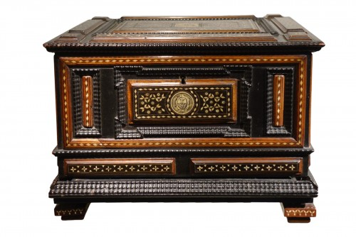 Small chest with flap and baseboard drawer, Venice, late 16th century.