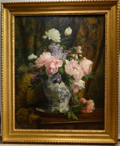 Bouquet of peonies and lilacs in a Chinese vase- Paul-Claude Jance ( 1840-1915)
