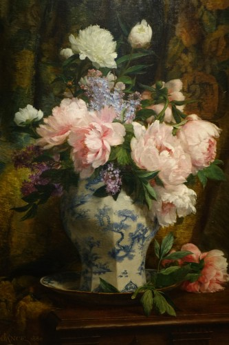 Bouquet of peonies and lilacs in a Chinese vase- Paul-Claude Jance ( 1840-1915)  - Paintings & Drawings Style Napoléon III