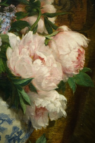Paintings & Drawings  - Bouquet of peonies and lilacs in a Chinese vase- Paul-Claude Jance ( 1840-1915)