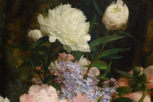 Bouquet of peonies and lilacs in a Chinese vase- Paul-Claude Jance ( 1840-1915)  - Napoléon III