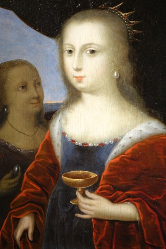 Cleopatra diluting the pearl - French school circa 1630 - Paintings & Drawings Style Louis XIII
