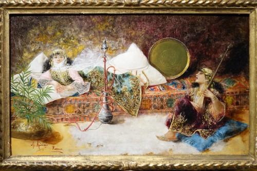 Orientalist scene, oil on panel A.RIVAS( 1845-1911) - Paintings & Drawings Style Napoléon III