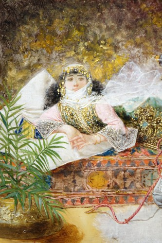 Orientalist scene, oil on panel A.RIVAS( 1845-1911) -