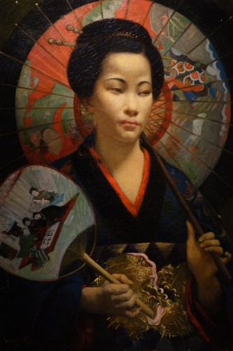 """A young Japanese woman with a fan"",signed F.LAFON, dated 1875"