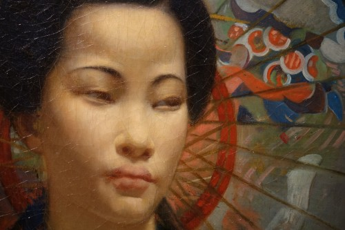 "Paintings & Drawings  - ""A young Japanese woman with a fan"",signed F.LAFON, dated 1875"