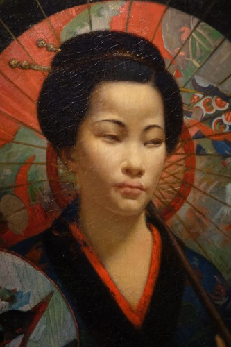 "Antiquités - ""A young Japanese woman with a fan"",signed F.LAFON, dated 1875"