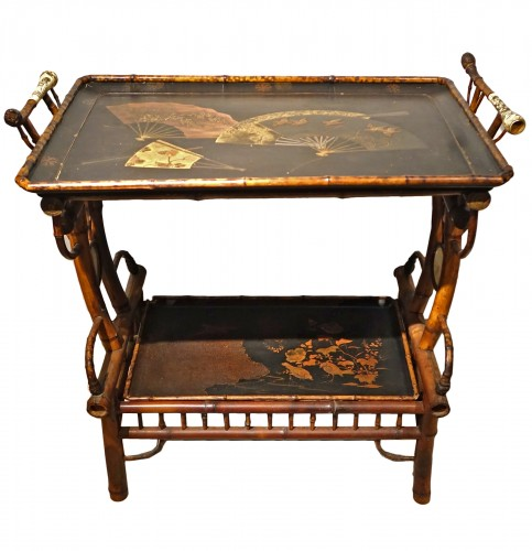 Tea table in bamboo, lacquer, ivory . Maison Perret-Vibert, circa 1890