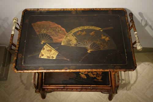 Tea table in bamboo, lacquer, ivory . Maison Perret-Vibert, circa 1890 - Furniture Style Art nouveau