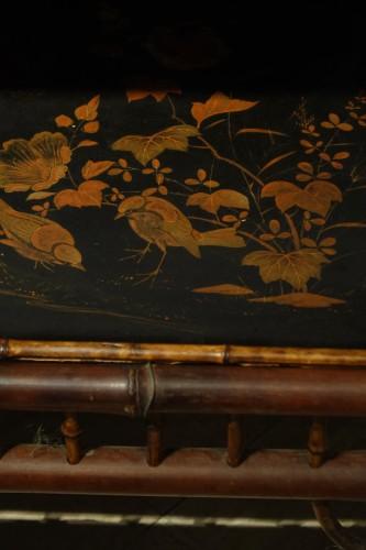 Art nouveau - Tea table in bamboo, lacquer, ivory . Maison Perret-Vibert, circa 1890