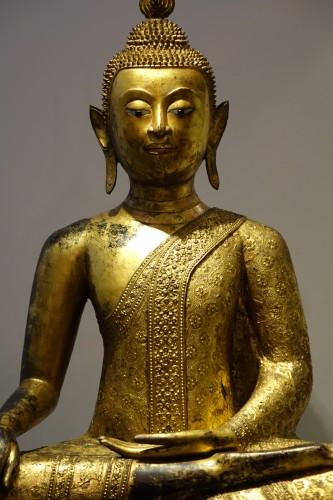 Large gilt bronze Buddha, Rattanakosin, Thailand, 19th century - Asian Works of Art Style Napoléon III