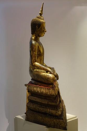 Antiquités - Large gilt bronze Buddha, Rattanakosin, Thailand, 19th century