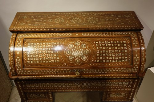 "Cylinder desk in ""certosina"", Italy, Venice, circa 1850 - Furniture Style Louis-Philippe"
