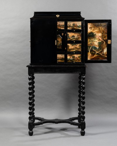 Furniture  - Antwerp cabinet with painted interiors, Flanders, 17th c.