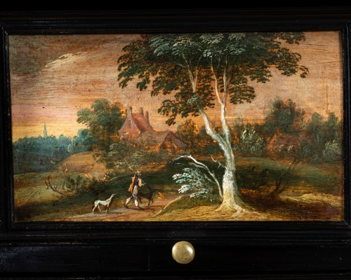 Antwerp cabinet with painted interiors, Flanders, 17th c. -