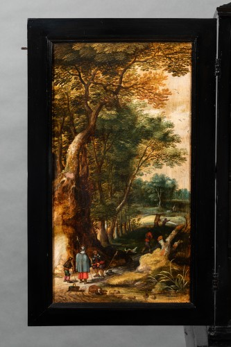 Antiquités - Antwerp cabinet with painted interiors, Flanders, 17th c.