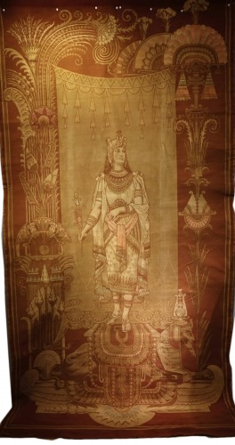 Large Orientalist door panel  representing a Mesopotamian queen (of a pair)