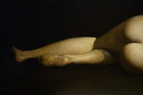 Paintings & Drawings  - Reclining nude woman.Oil on mahogany signed A.VELY( 1838-1882)