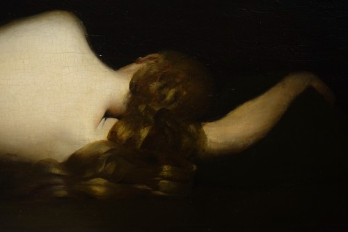 Reclining nude woman.Oil on mahogany signed A.VELY( 1838-1882) -