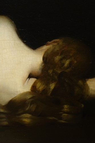 19th century - Reclining nude woman.Oil on mahogany signed A.VELY( 1838-1882)