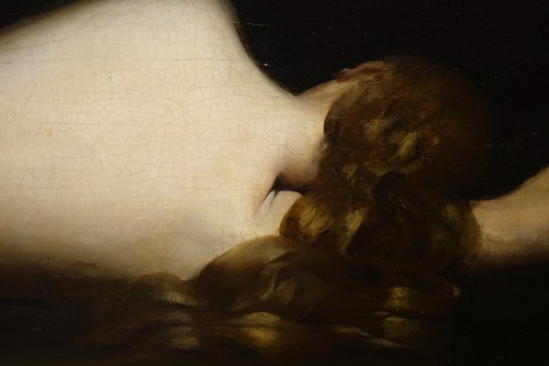 Reclining nude woman.Oil on mahogany signed A.VELY( 1838-1882) - Napoléon III
