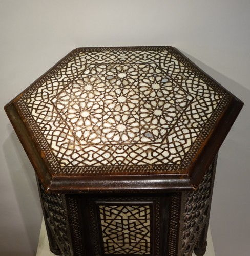 Hexagonal table in cedar and mother-of-pearl,Syria, late 19th c. -