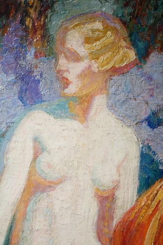 Mrs Guillonnet nude in a garden - ODV Guillonnet, circa 1920 - Paintings & Drawings Style Art Déco