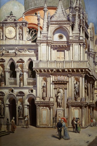 The Doges Palace in Venice- F.W.ODELINCK, 1889 - Paintings & Drawings Style Art nouveau