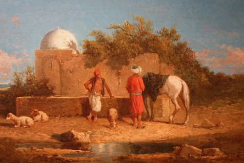 """A stop at a water point"", oil on panel signed Eugene FROMENTIN (1820-1876)"