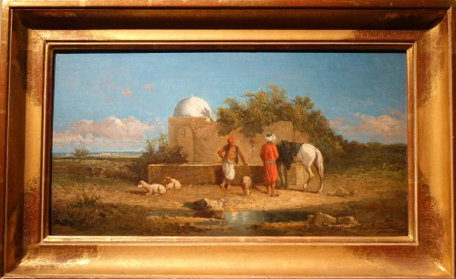 """""""A stop at a water point"""", oil on panel signed Eugene FROMENTIN (1820-1876) - Paintings & Drawings Style Napoléon III"""