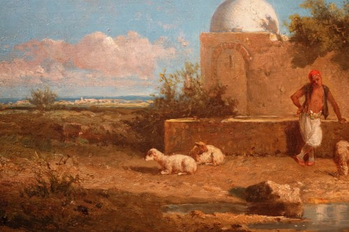 """Paintings & Drawings  - """"A stop at a water point"""", oil on panel signed Eugene FROMENTIN (1820-1876)"""
