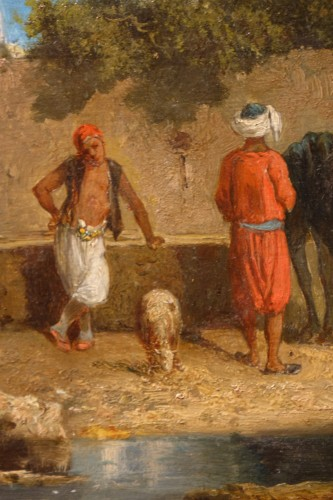 """19th century - """"A stop at a water point"""", oil on panel signed Eugene FROMENTIN (1820-1876)"""