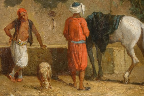 """""""A stop at a water point"""", oil on panel signed Eugene FROMENTIN (1820-1876) - Napoléon III"""