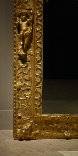 Mirrors, Trumeau  - Gilded wood mirror, Italy 18th century