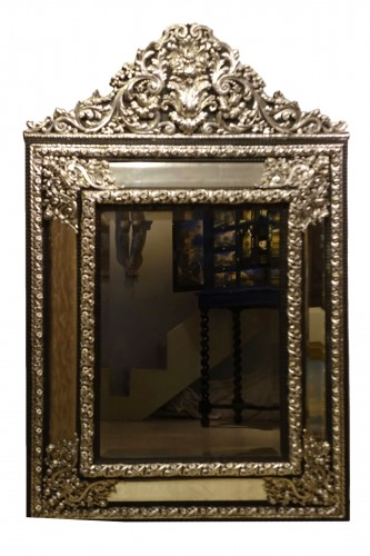 A large silver plated mirror,Louis XIV style, France, circa 1880