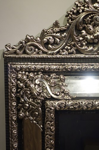 A large silver plated mirror,Louis XIV style, France, circa 1880 -