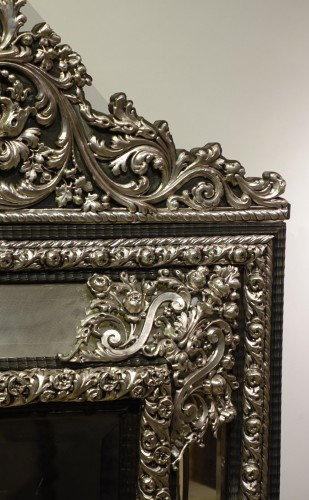 19th century - A large silver plated mirror,Louis XIV style, France, circa 1880