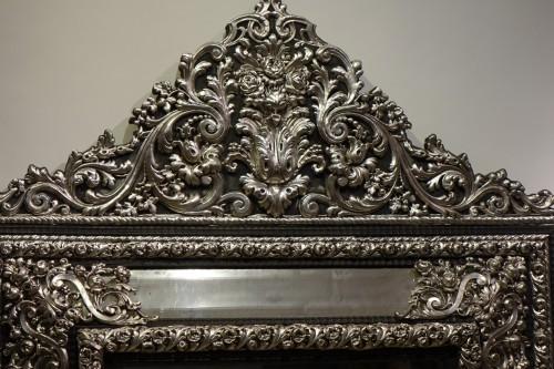 Napoléon III - A large silver plated mirror,Louis XIV style, France, circa 1880