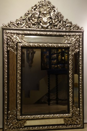 Antiquités - A large silver plated mirror,Louis XIV style, France, circa 1880