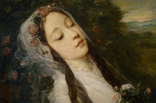 """""""Ophélia"""", oil on canvas, Louis Gustave RICARD (1823-1873) - Paintings & Drawings Style Napoléon III"""