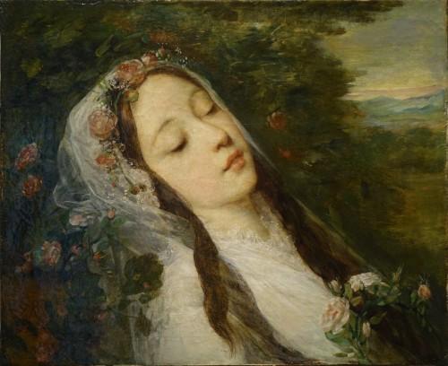 """Antiquités - """"Ophélia"""", oil on canvas, Louis Gustave RICARD (1823-1873)"""