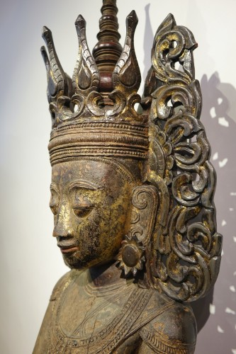 19th century - Large lacquered wood Buddha, Shan States style, Burma, 19th c.
