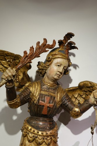 Saint Michael the Archangel vanquishing Satan, Southern Germany or Italy  - Sculpture Style Louis XIV